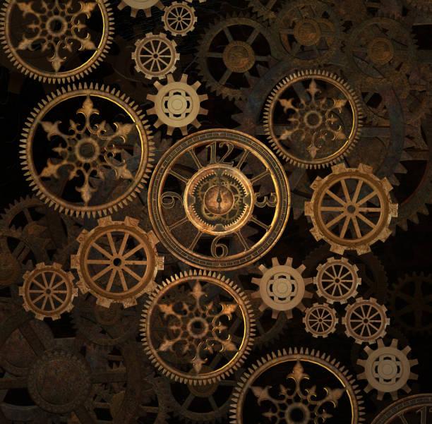 steampunk gouden achtergrond - steampunk stockfoto's en -beelden
