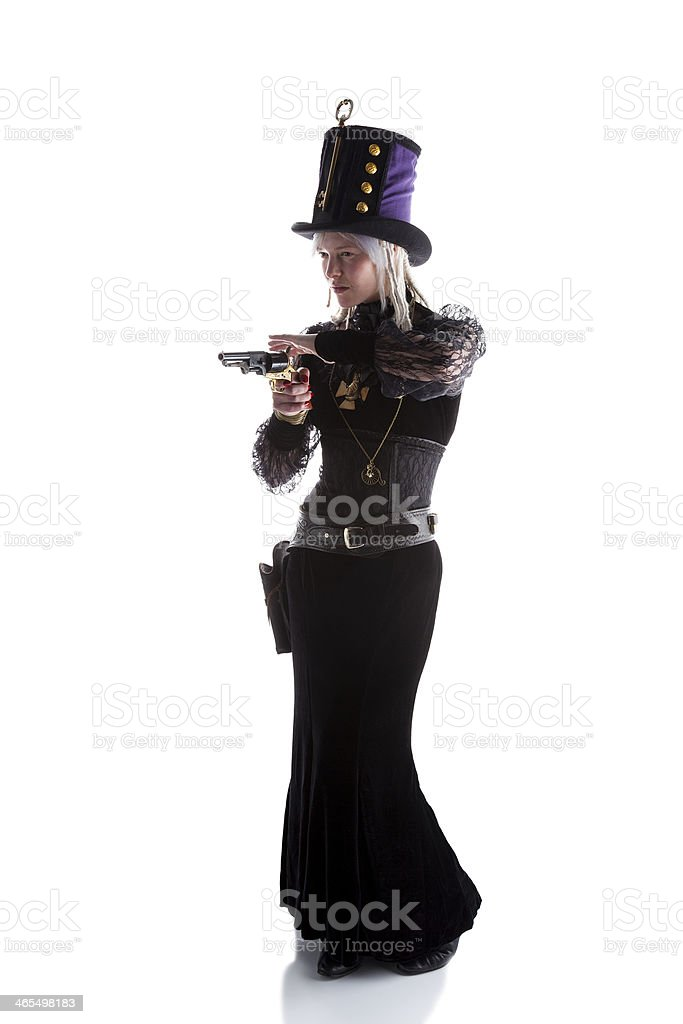 Steampunk Gunfighter Isolated On White royalty-free stock photo