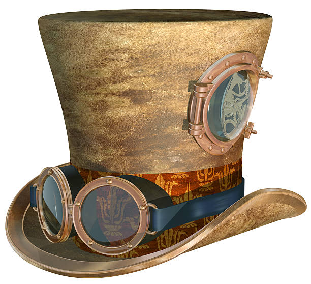 steampunk hat and goggles - steampunk stock photos and pictures