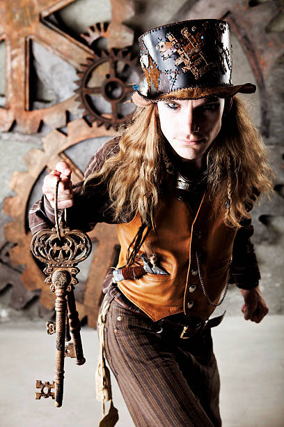 steampunk keymaster - steampunk fashion stock photos and pictures
