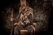 istock Steampunk male military character in a studio shot 1248701866