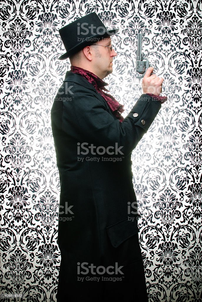 Steampunk Man with Pistol Against Damask Background royalty-free stock photo