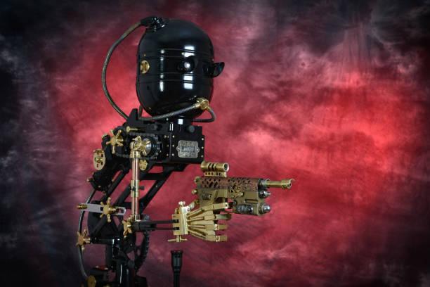 Steampunk-Mechaniker mit Pistole – Foto