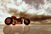 istock Steampunk motorbike against storm clouds 494894798