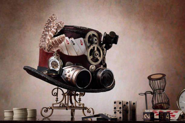 steampunk oude bordspellen - steampunk stockfoto's en -beelden