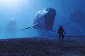 istock Steampunk prehistoric Dunkleosteus fish attack 1201027916