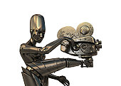 istock Steampunk robot with vintage camera 119761404