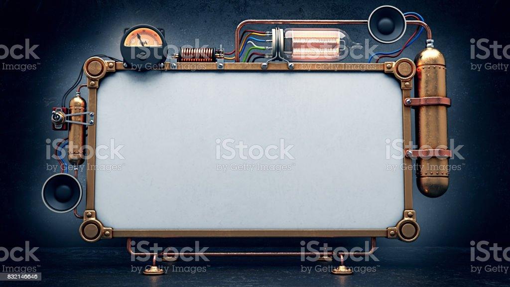Steampunk screen. 3D Render stock photo