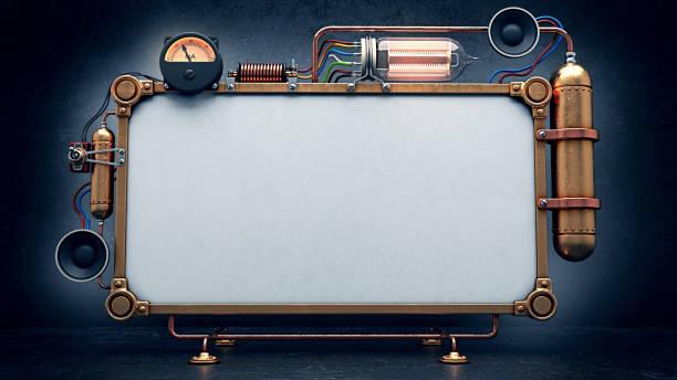 steampunk scherm. 3d render - steampunk stockfoto's en -beelden
