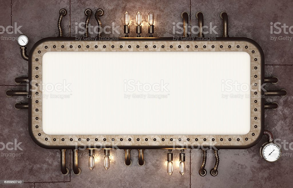 Steampunk signboard. Retro futuristic display stock photo