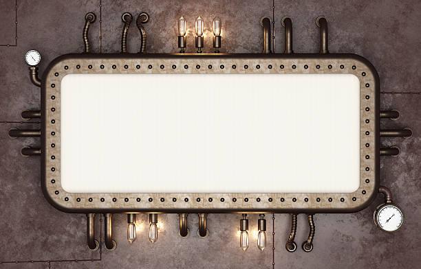 steampunk signboard. retro futuristic display - steampunk stockfoto's en -beelden