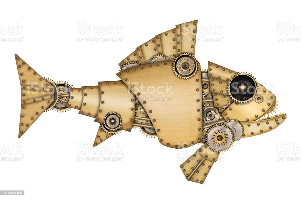 Steampunk style. Industrial mechanical fish stock photo