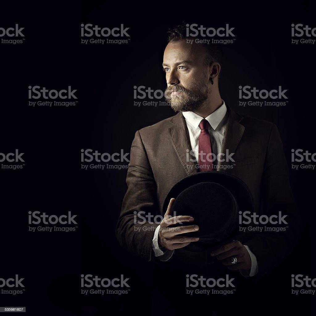 Steampunk style man stock photo