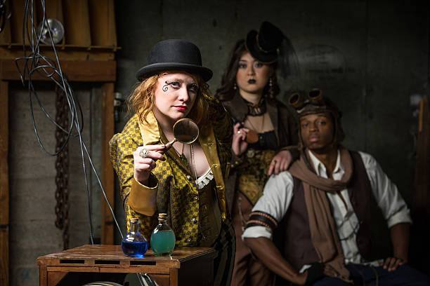 Steampunk Trio with In Retro Lab Three Steampunks with in Retro Lab with Potions anachronistic stock pictures, royalty-free photos & images