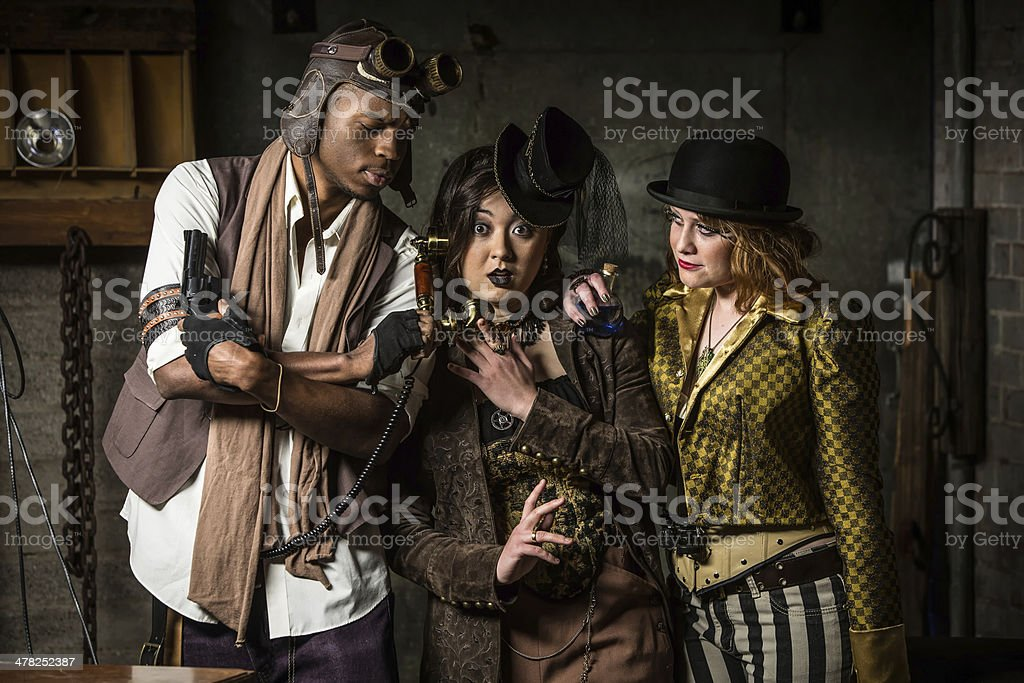 Steampunk Trio with Phone stock photo