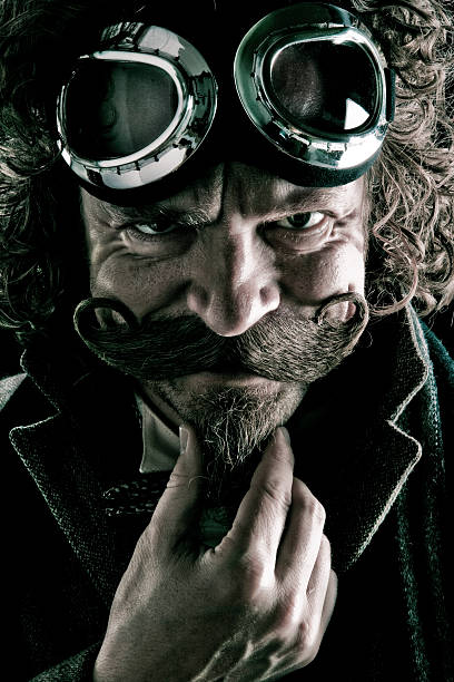 steampunk villain - steampunk stock photos and pictures