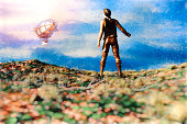 istock Steampunk wanderer hitchhiking the zeppelin 692052768
