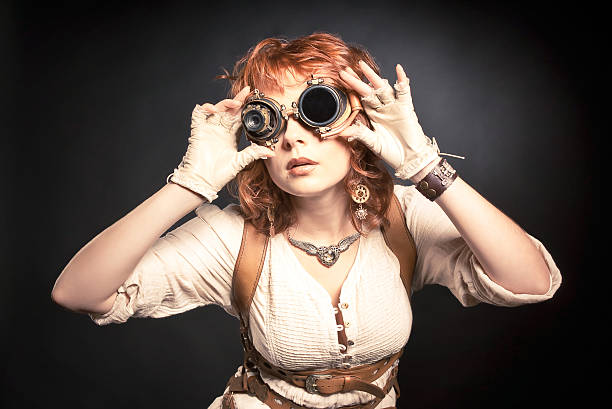 steampunk woman with goggles stock photo