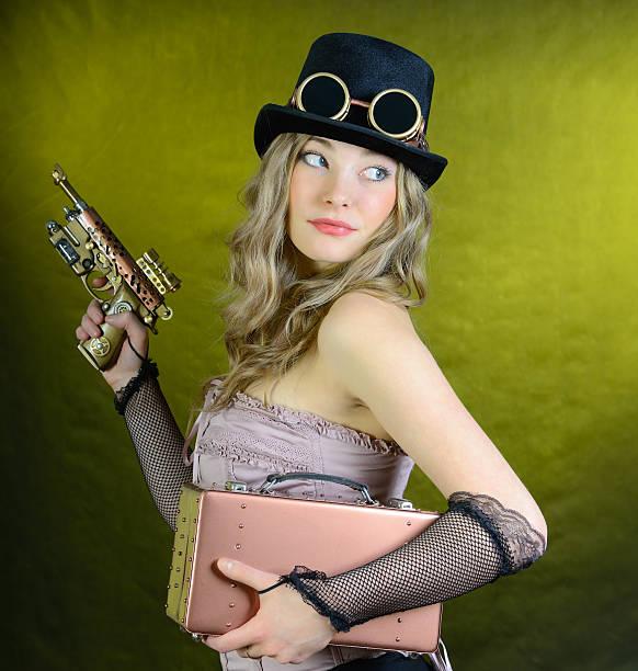 Steampunk Frau mit Waffe. – Foto