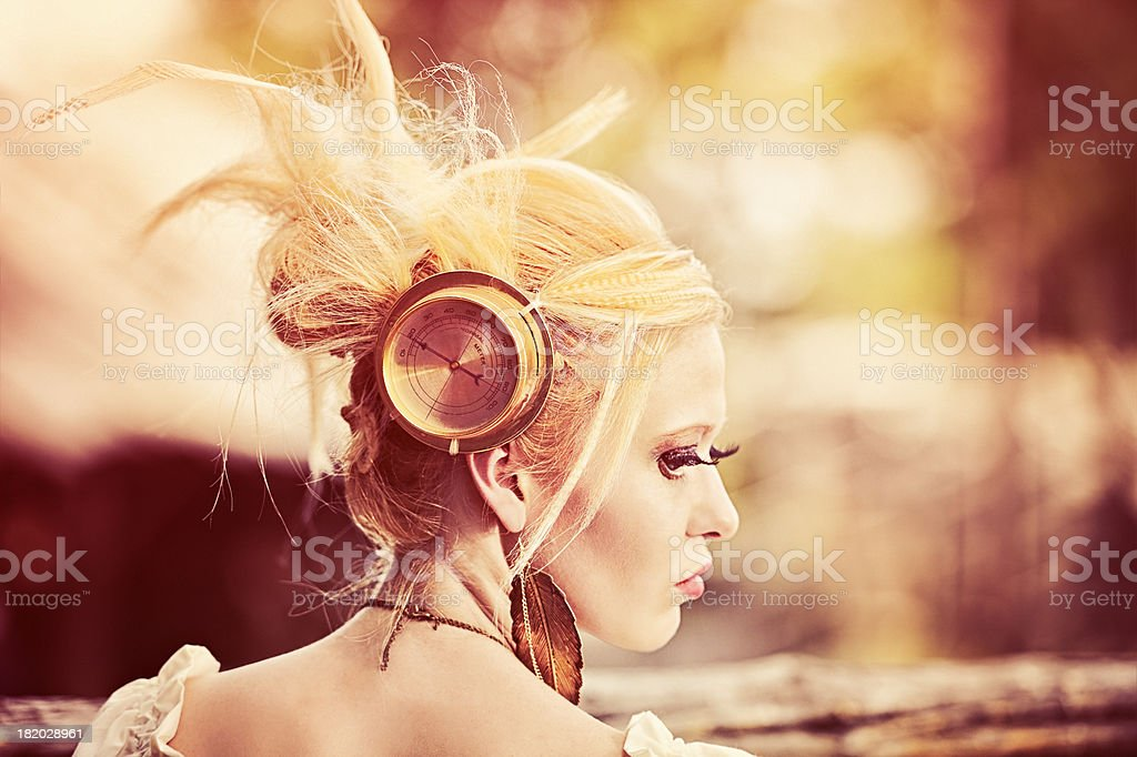 Steampunk Woman With Paranormal Meter Reader Attached To Her Head stock photo