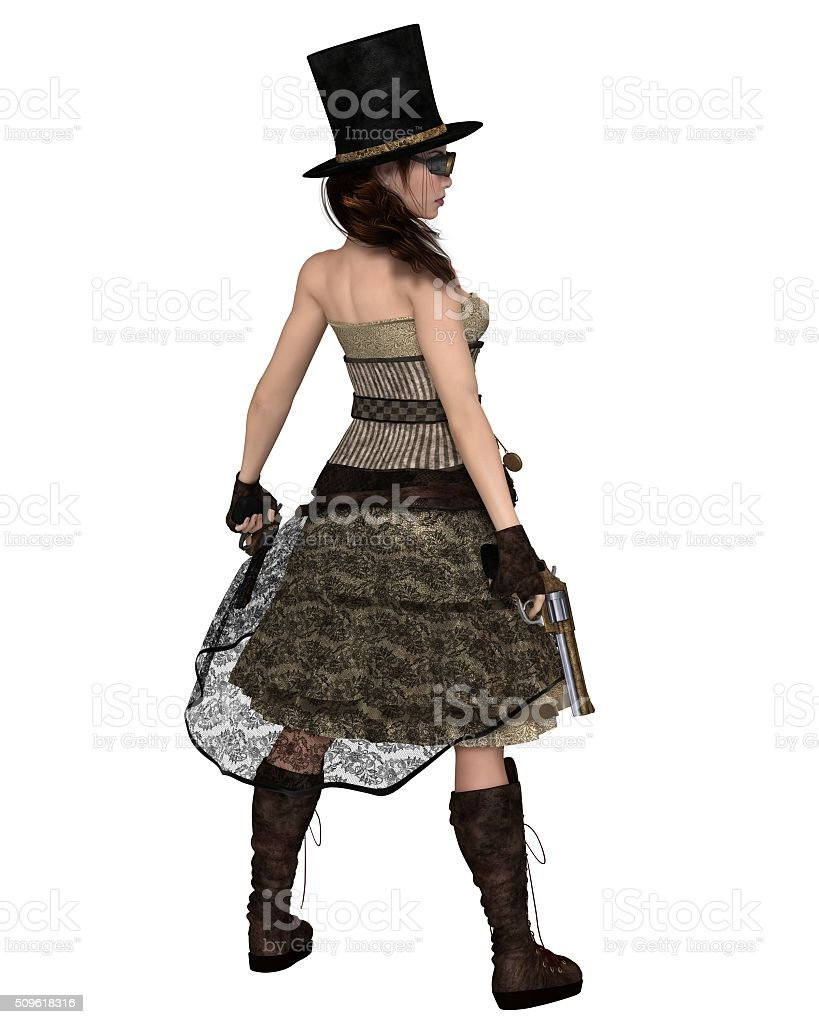 Steampunk Woman With Stovepipe Hat And Revolvers Fantasy Illustration Stock Photo Download Image Now Istock