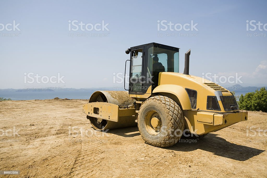 Steamroller & sea royalty-free stock photo