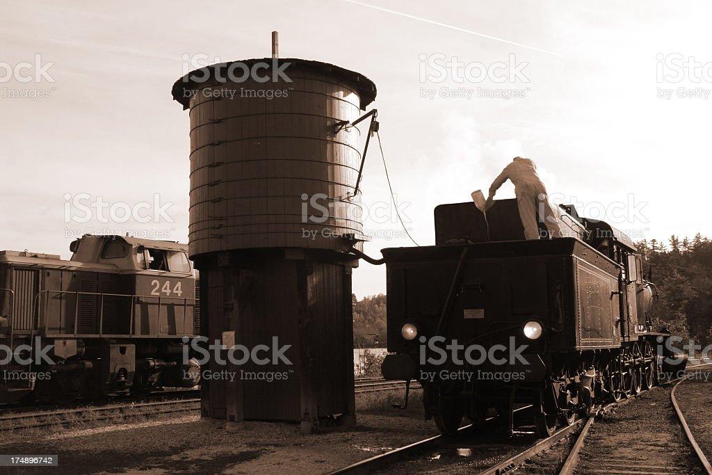 Steamtrain  maintenance (sepia) royalty-free stock photo