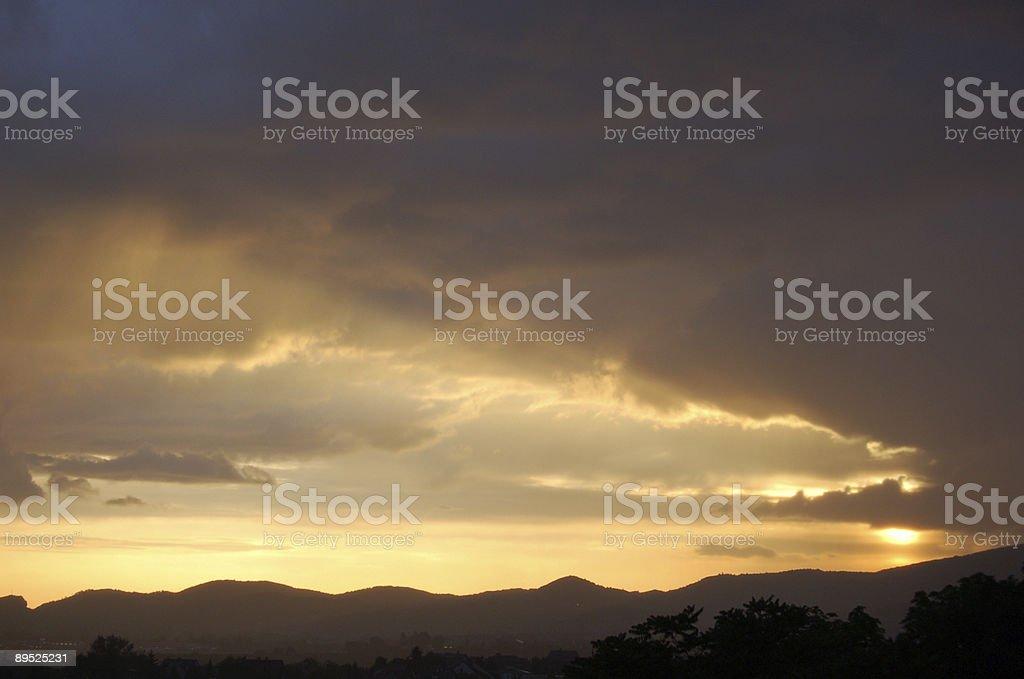 Steamy sunset stock photo