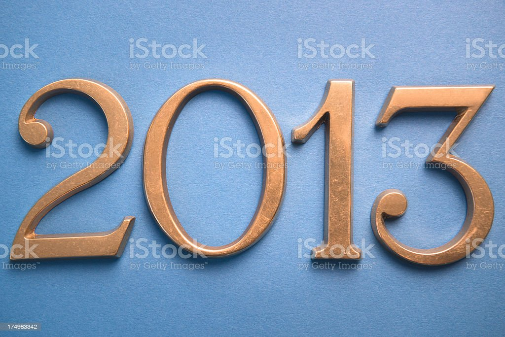 Steel 2013 New year text on blue background stock photo