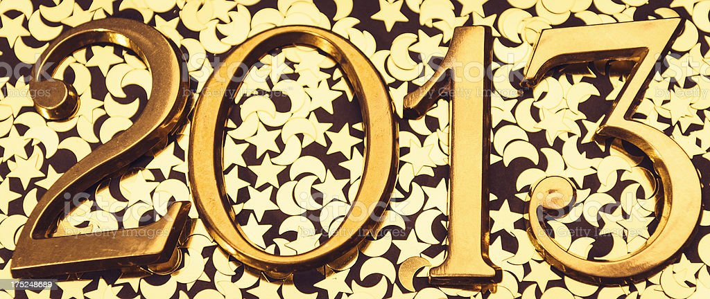 Steel 2013 New year text on gold shiny background stock photo