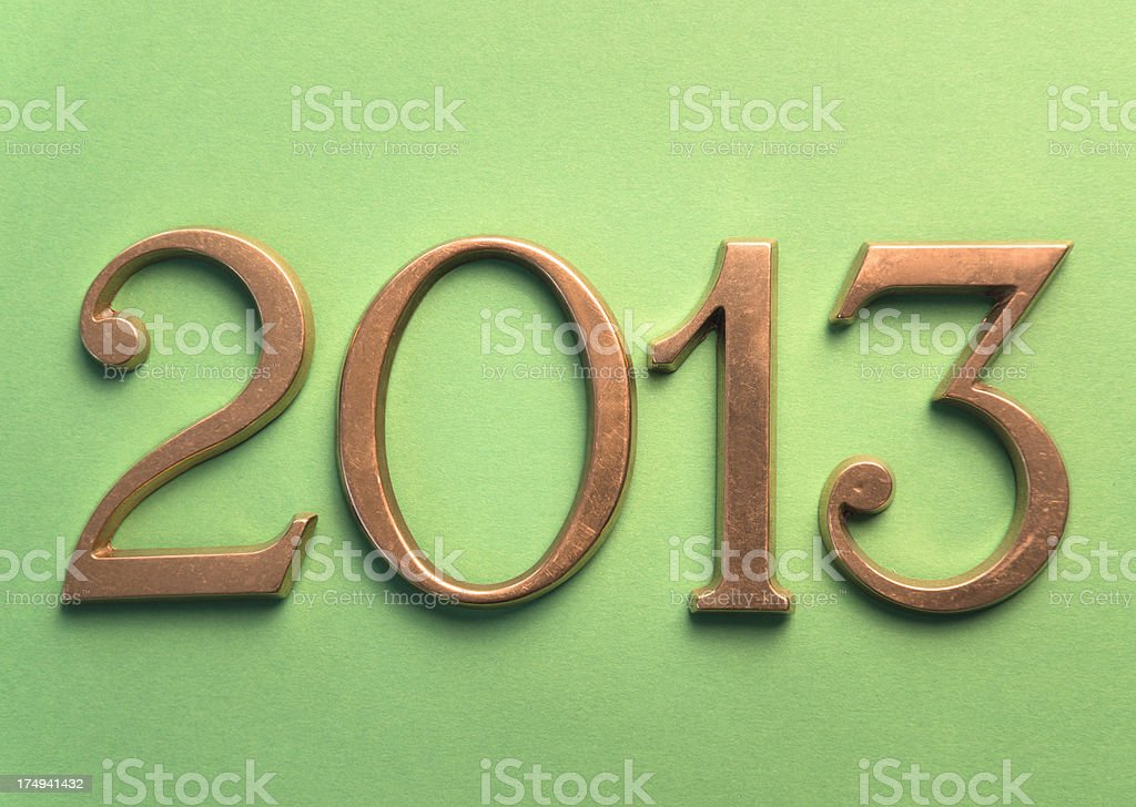 Steel 2013 New year text on green background stock photo