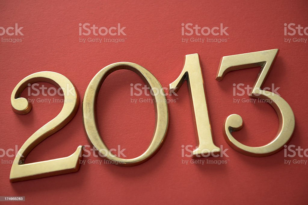 Steel 2013 New year text on red background stock photo