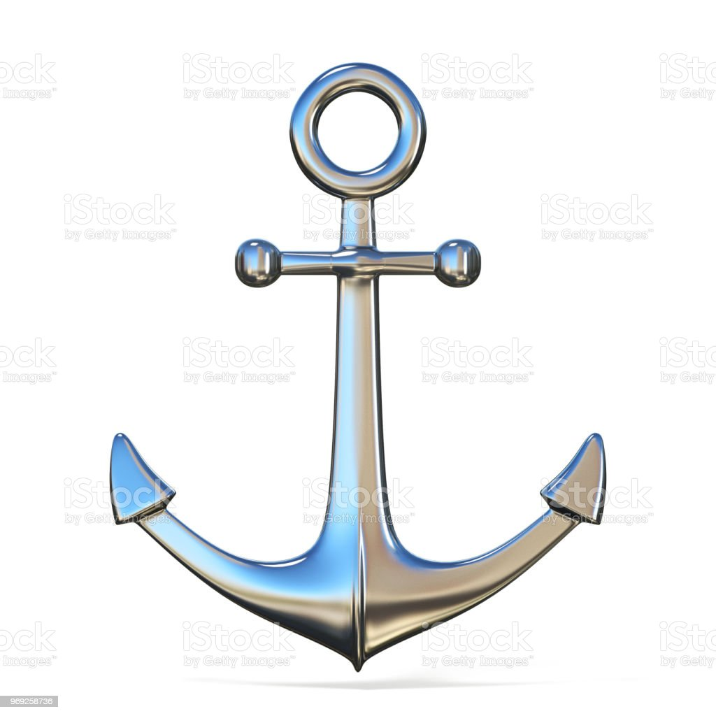 Steel anchor 3D stock photo