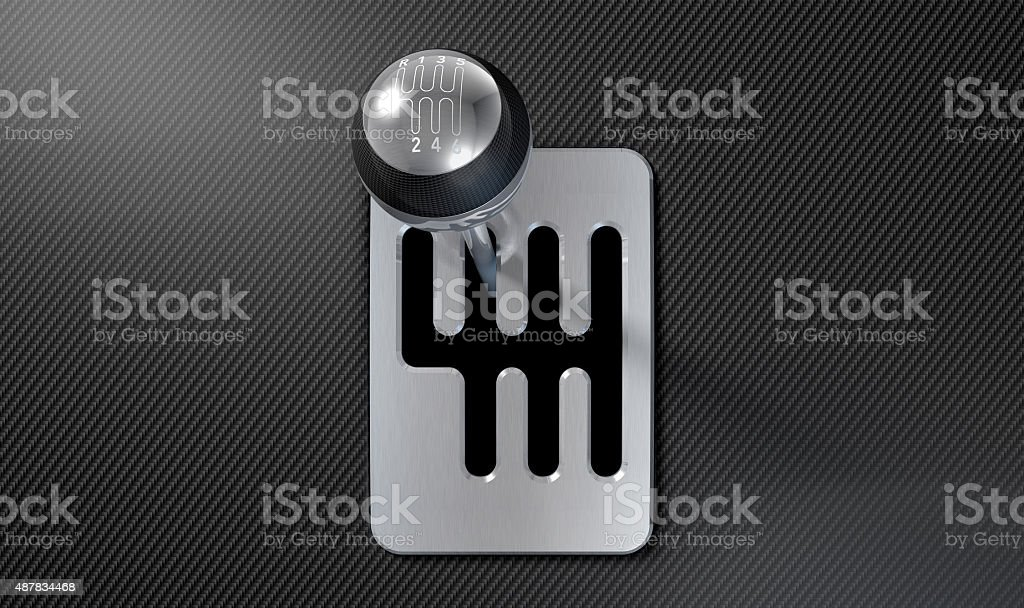 Steel And Chrome Stick Shift stock photo