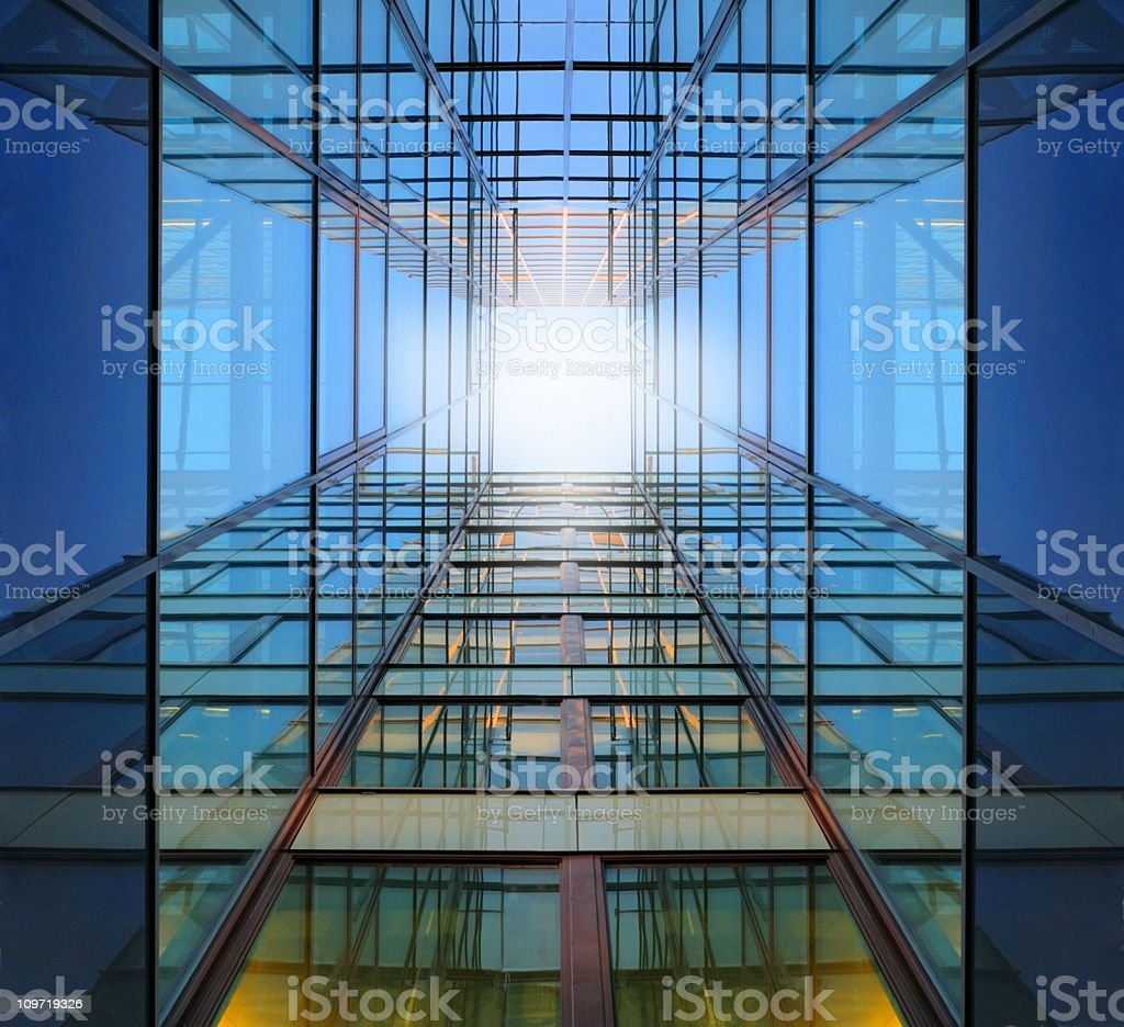 Steel and glass finance building stock photo