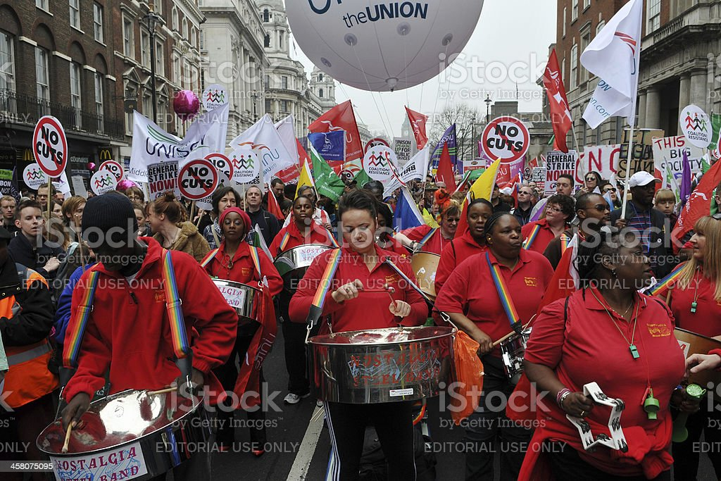 Steel Band Plays at an Austerity Rally stock photo