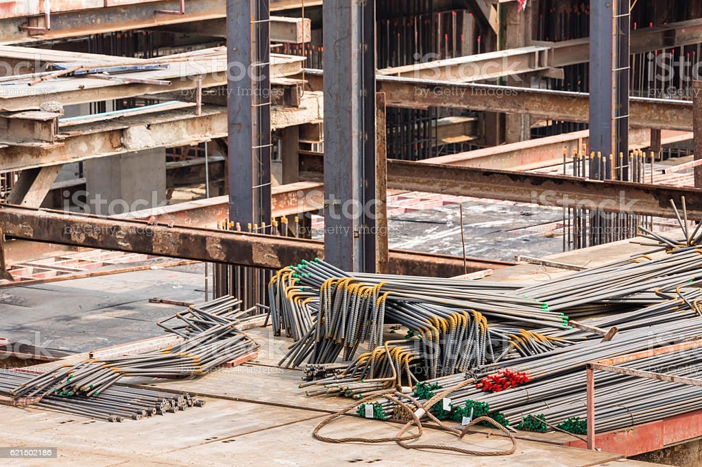 steel bar for use in construction site Lizenzfreies stock-foto