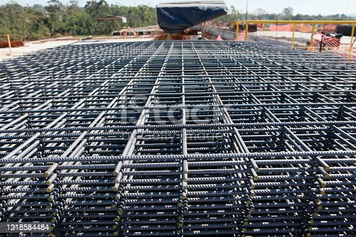 Steel bar framework  in the construction site