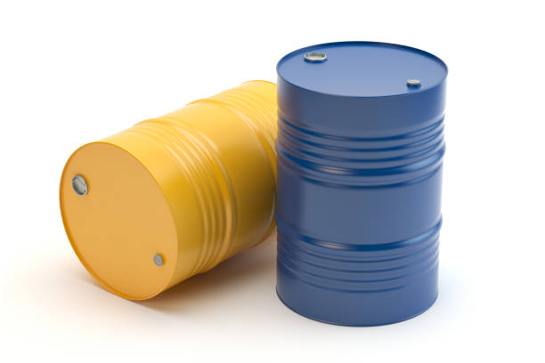 Steel barrel, yellow and blue, 3D illustration Drum - container illustration drum container stock pictures, royalty-free photos & images