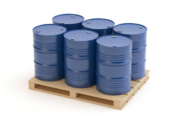 Steel barrels on pallet White background, 3D illustration drum container stock pictures, royalty-free photos & images