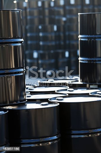 Black steel storage drums in chemical plant