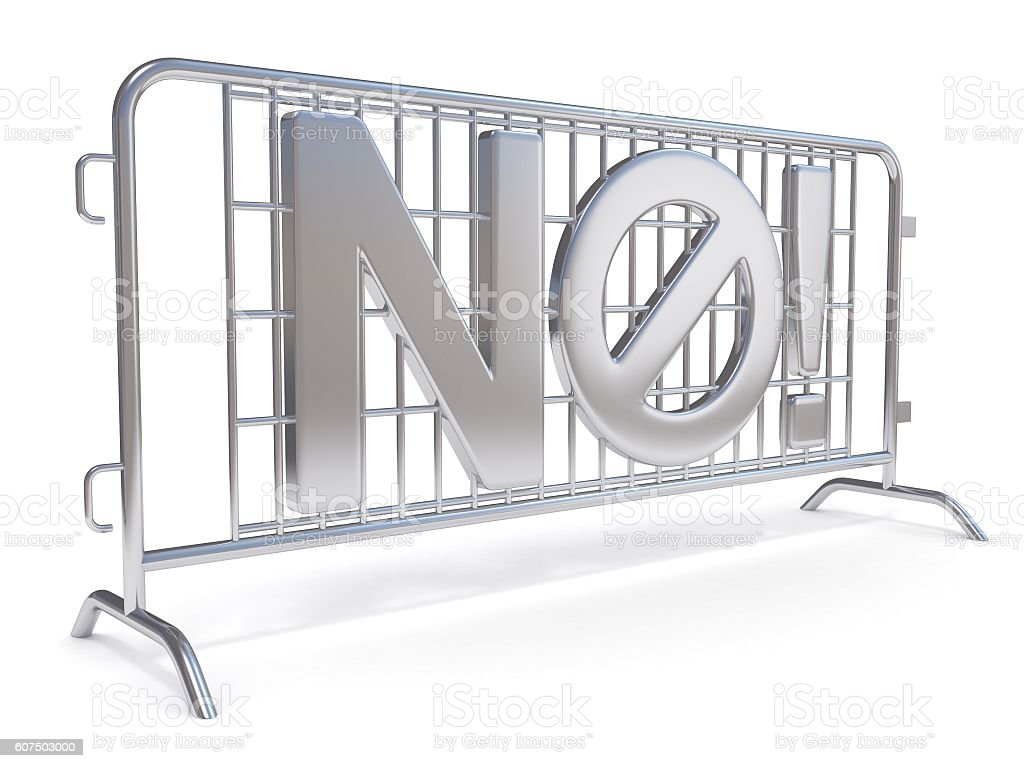 Steel barricades with word NO. Side view. 3D stock photo