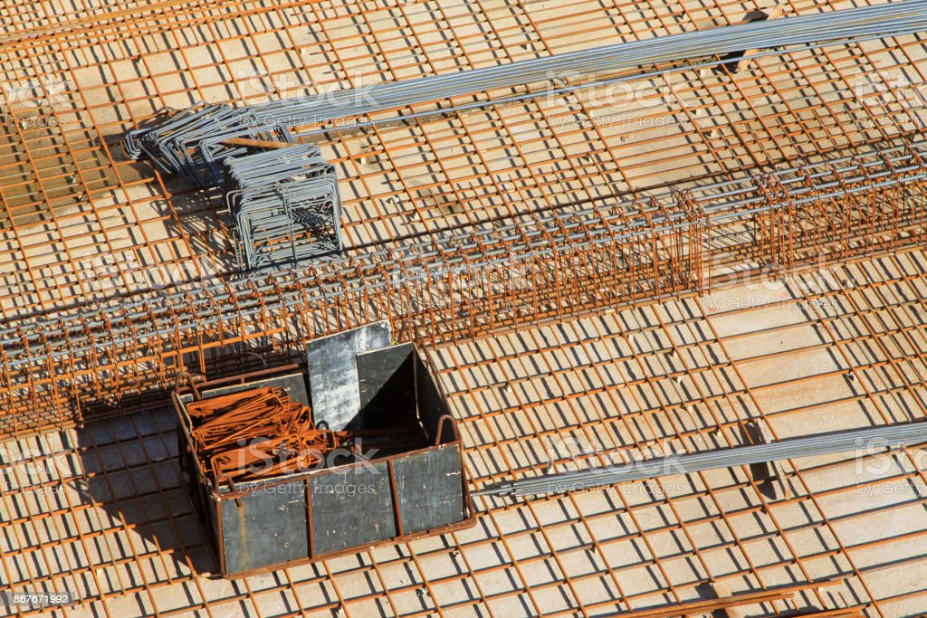 steel bars construction materials stacked together, in a construction site, Luannan County, Hebei Province, China stock photo