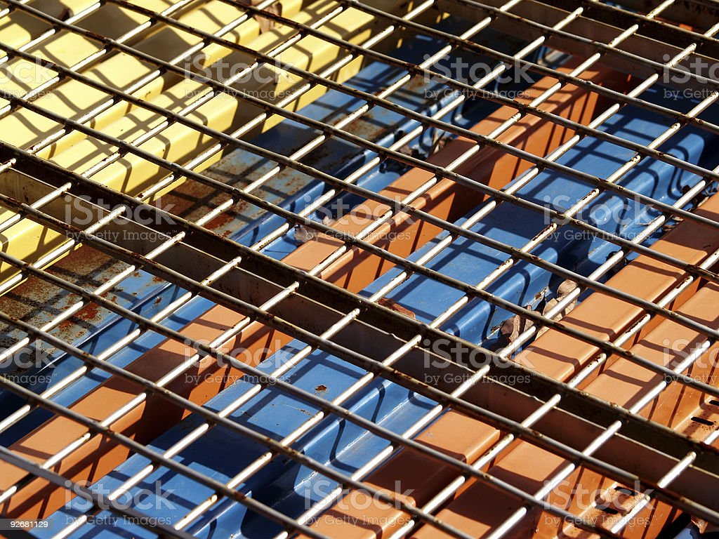 Steel Beams And Wire Mesh stock photo