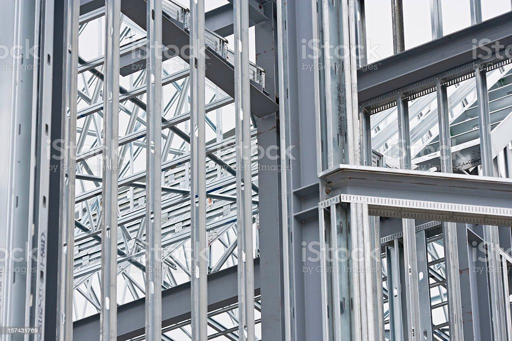 Steel beams at construction site  (XXL) royalty-free stock photo