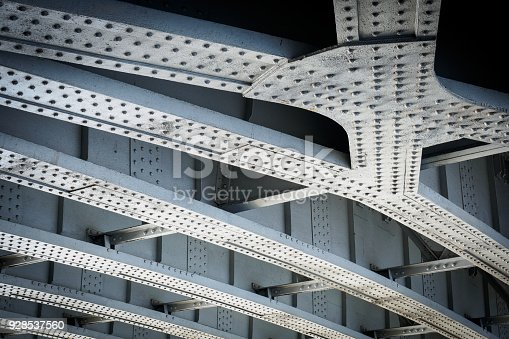 Steel beams on a railway bridge with steel plates and riveted connections. Landscape format.