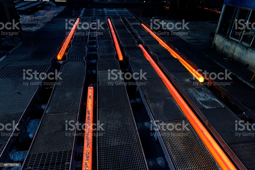 Steel Billets at Torch Cutting stock photo
