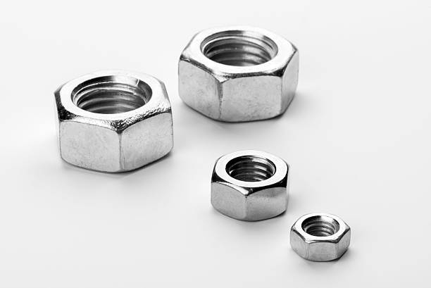Steel bolts isolated on white background stock photo