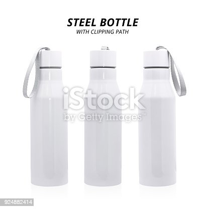467147506 istock photo Steel bottle isolated on white background. Insulated drink container for design. ( Clipping path ) 924882414
