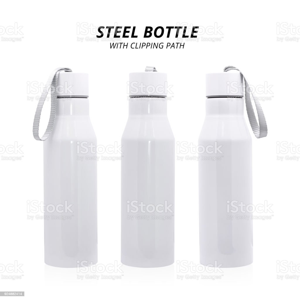 Steel bottle isolated on white background. Insulated drink container for design. ( Clipping path ) - foto stock